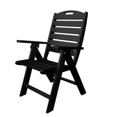 Nautical Highback Black Plastic Outdoor Patio Dining Chair