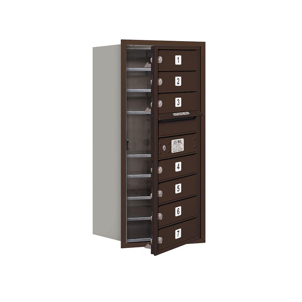 Salsbury Industries 3700 Series 34 in. 9 Door High Unit Bronze USPS Front Loading 4C Horizontal Mailbox with 7 MB1 Doors
