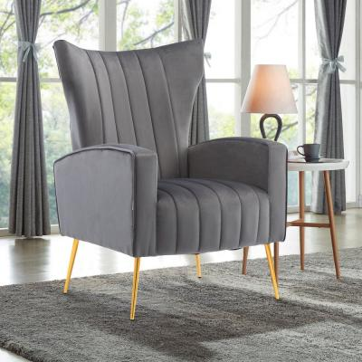 Gray Modern Accent Fabric Chair Single Sofa Comfy Upholstered Arm Chair Living Room Furniture