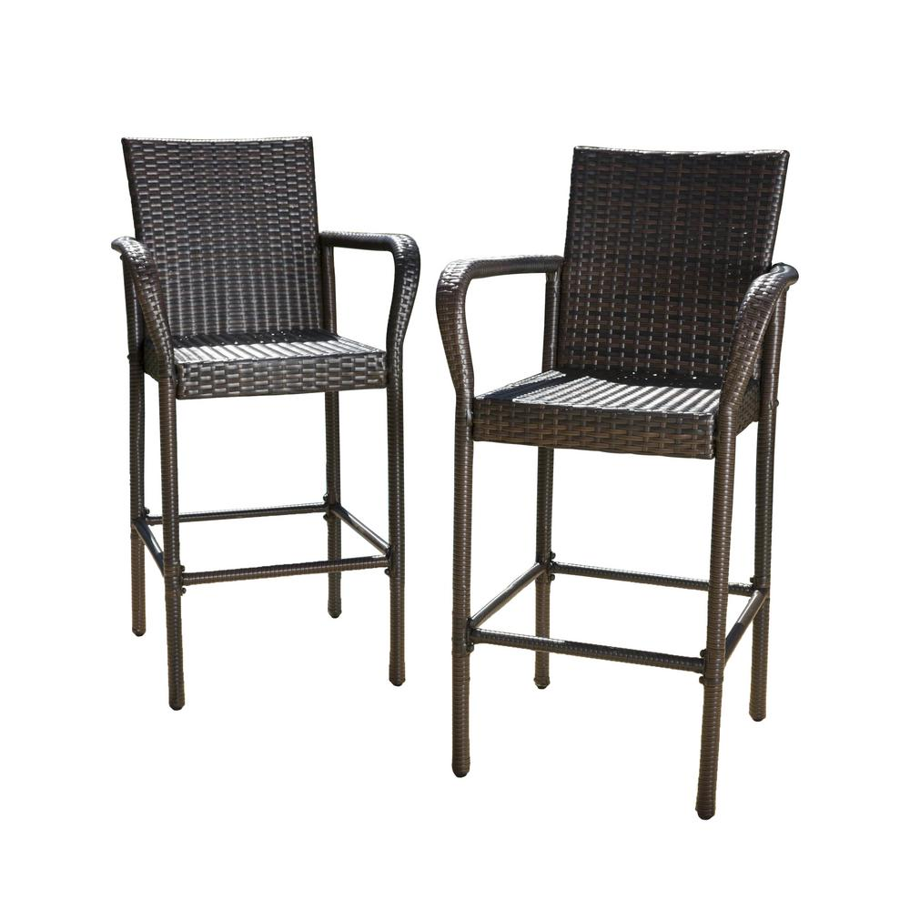 Noble House Delfina Wicker Outdoor Bar Stool 2 Pack 295946 The