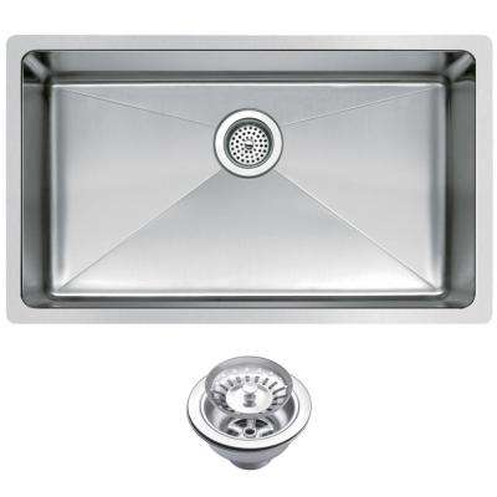 Undermount Stainless Steel 30 in. Single Bowl Kitchen Sink with Strainer in Satin