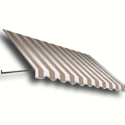16 ft. Dallas Retro Window/Entry Awning (56 in. H x 48 in. D) in Linen/White Stripe