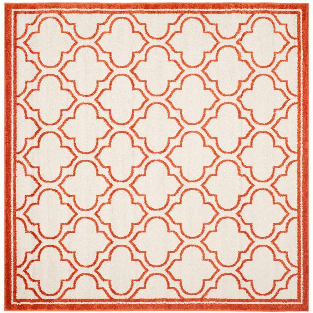 Safavieh Amherst Ivory/Orange 7 ft. x 7 ft. Indoor/Outdoor Square Area Rug