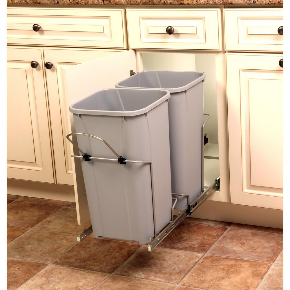 Home Decorators Collection 22.5 in. x 13.5 in. x 11.75 in. In Cabinet Pull  Out Soft-Close 27 Qt. Trash Can