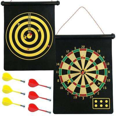 Magnetic Roll-Up 17.5 in. Dart Board and Bulls-Eye Game with Darts