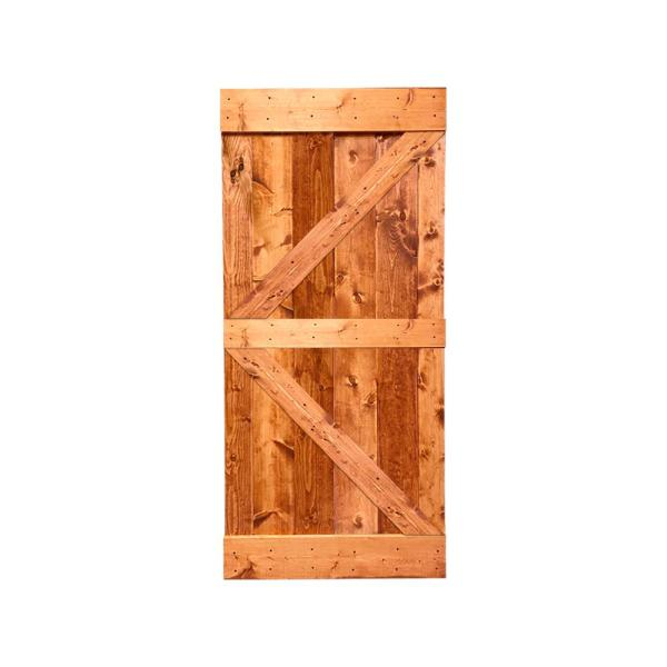 Calhome K Series 42 In X 84 In Pre Assembled Red Walnut Stained Solid Pine Wood Interior Sliding Barn Door Slab Door Asm K42r The Home Depot