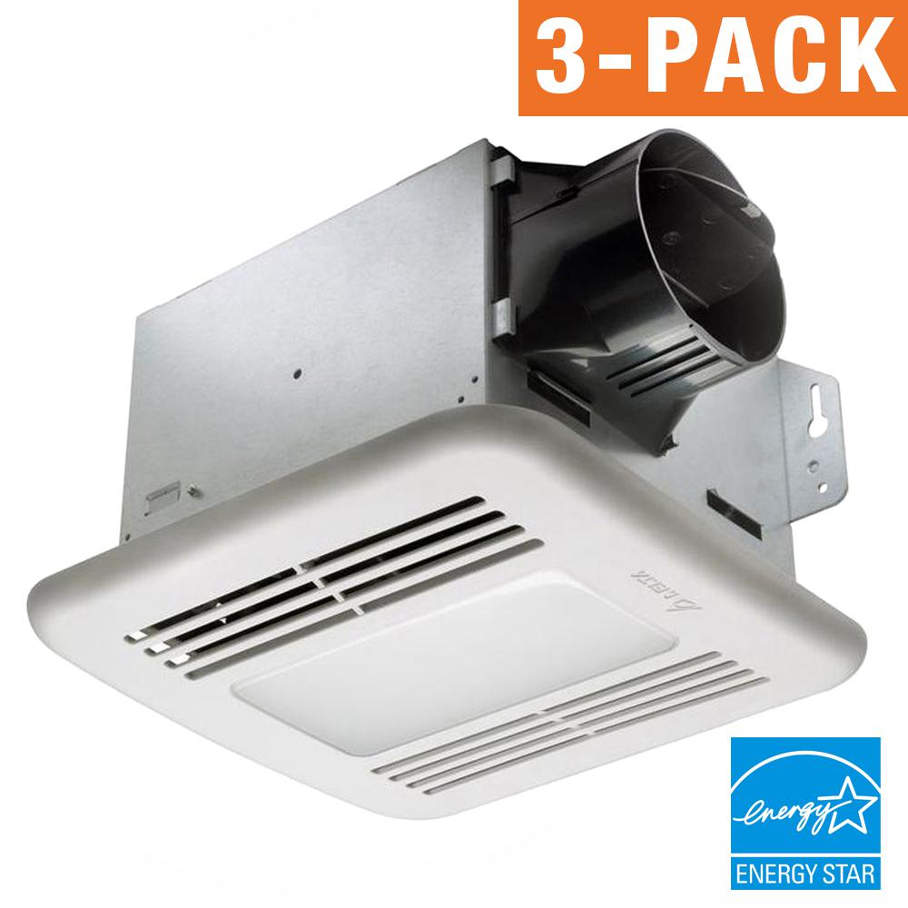 Delta Breez GreenBuilder Series 80 CFM Ceiling Exhaust Bath Fan with LED Light (3-Pack)