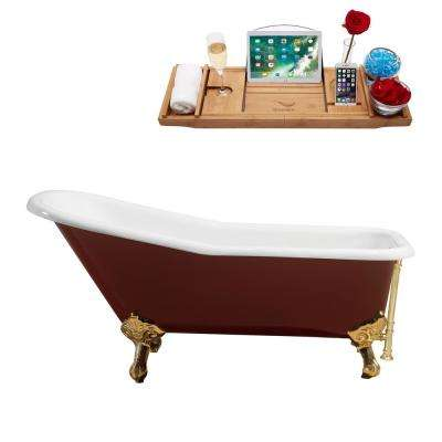 66 in. Cast Iron Clawfoot Non-Whirlpool Bathtub in Glossy Red