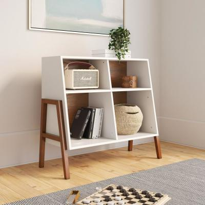 Telos Glossy White and Brown 4-Cube Organizer Storage Cabinet with Open Shelves and Angled Design