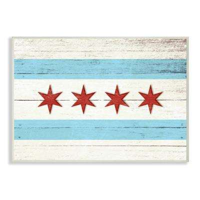 "10 in. x 15 in. ""Chicago Flag Distressed Wood Look"" by Daphne Polselli Printed Wood Wall Art"