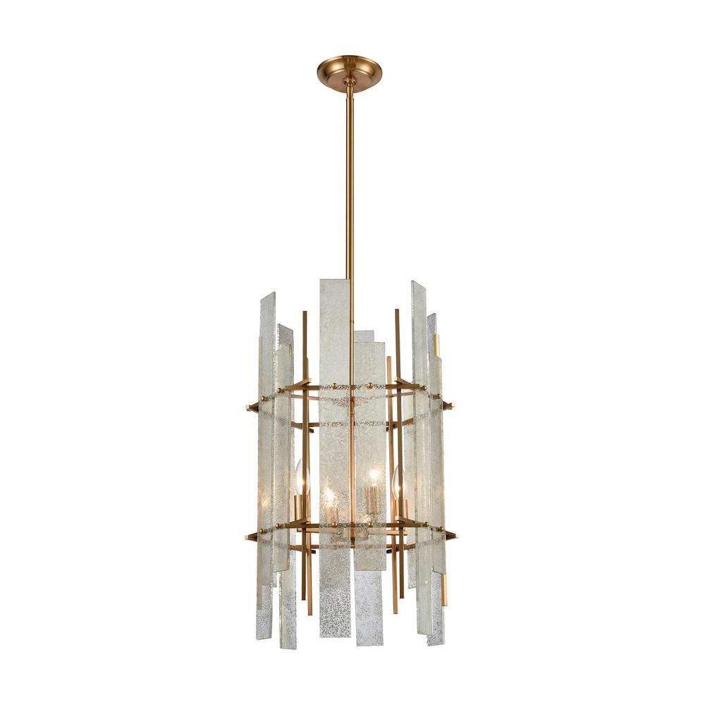 Titan Lighting Mercury Ascendant 4 Light Aged Brass With Glass Chandelier