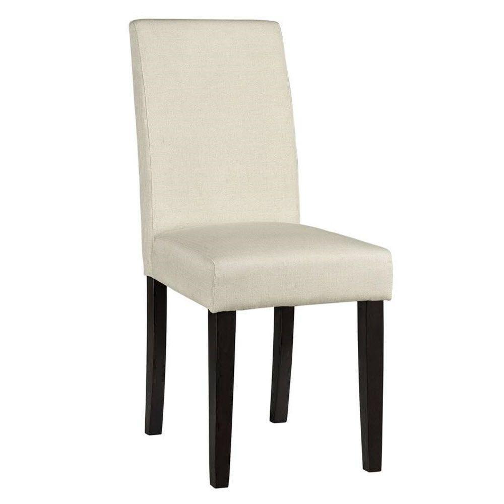 Home Decorators Collection Parsons Natural Herringbone Faux Linen Side Chair