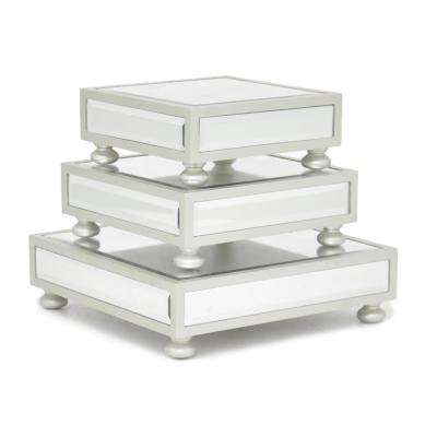Silver Mirrored Pedestals (Set of 3)