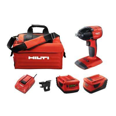 SIW 22-Volt Lithium-Ion 3/8 in. Cordless Brushless Compact Impact Wrench Kit with 5.2 Li-Ion Batteries, Charger and Bag