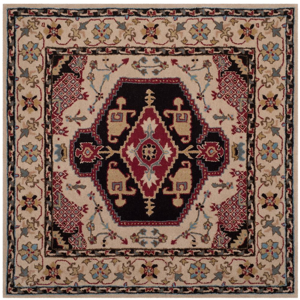 Bellagio Beige/Black 5 ft. x 5 ft. Square Area Rug