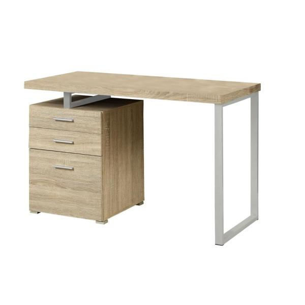 Jasmine 1-Piece Natural and Silver Computer Desk