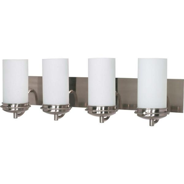 4-Light Brushed Nickel Vanity Light with Satin Frosted Glass Shade