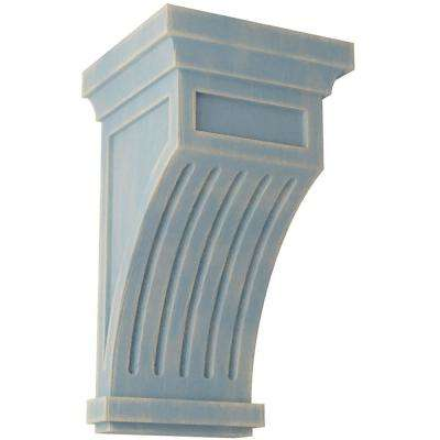 5-1/2 in. x 10 in. x 5-1/2 in. Driftwood Blue Fluted Wood Vintage Decor Corbel