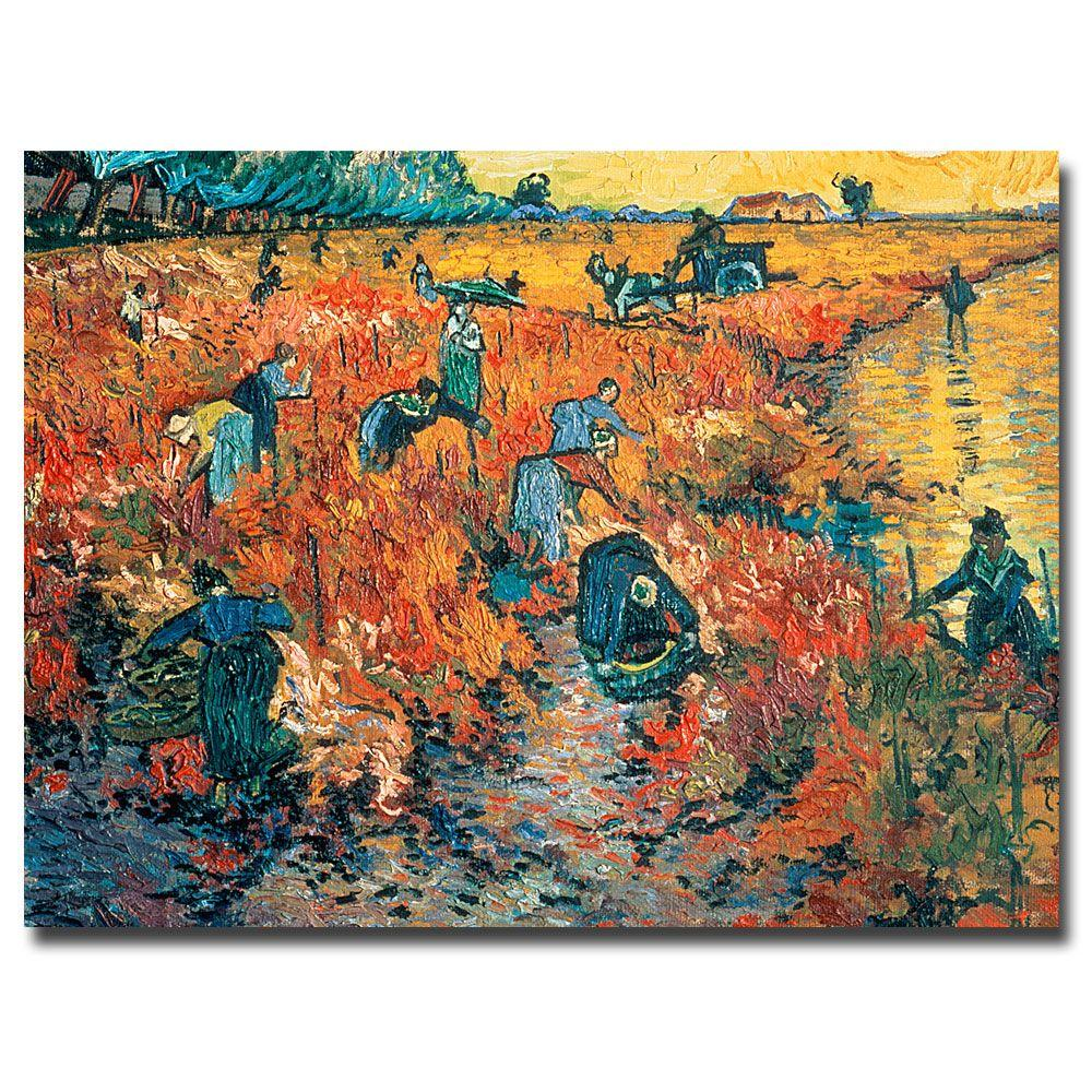 Trademark Fine Art 26 in. x 32 in. Red Vineyards at Arles, 1888 Canvas Art