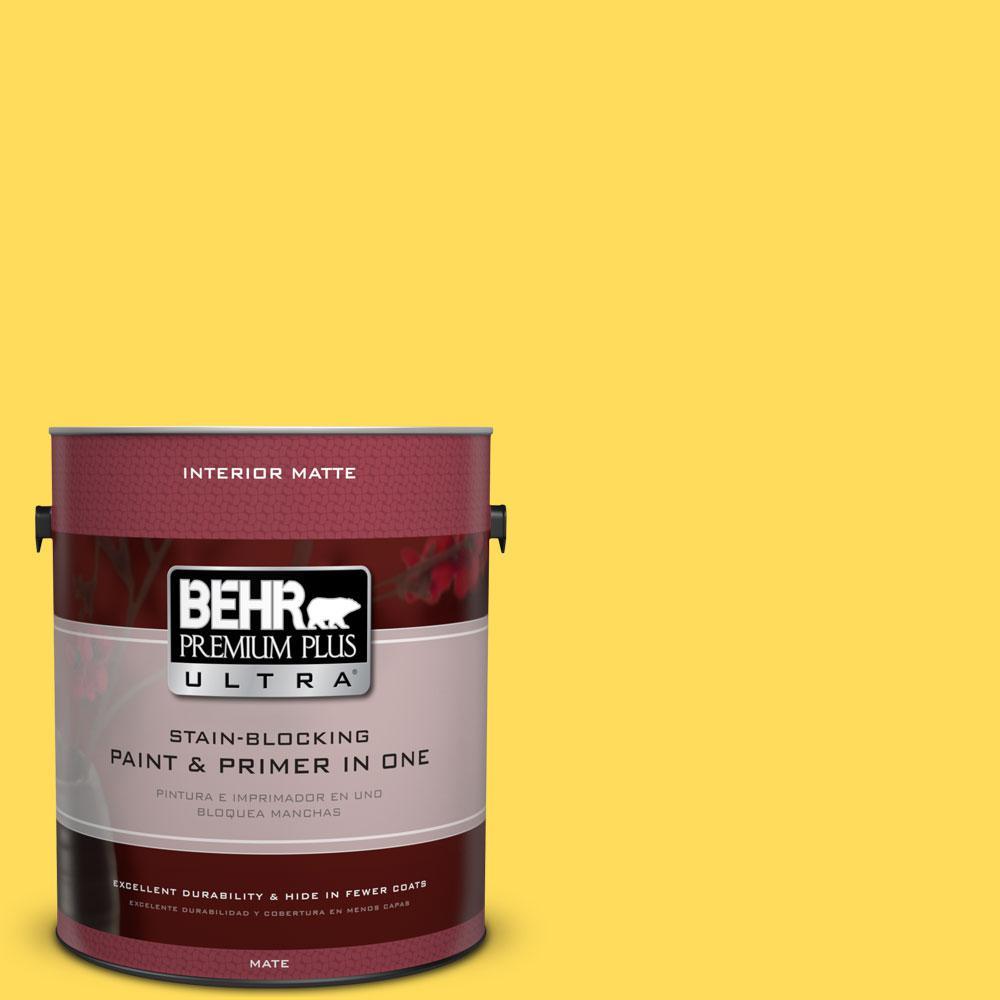 BEHR Premium Plus Ultra 1 gal. #380B-5 Neon Light Flat/Matte Interior Paint
