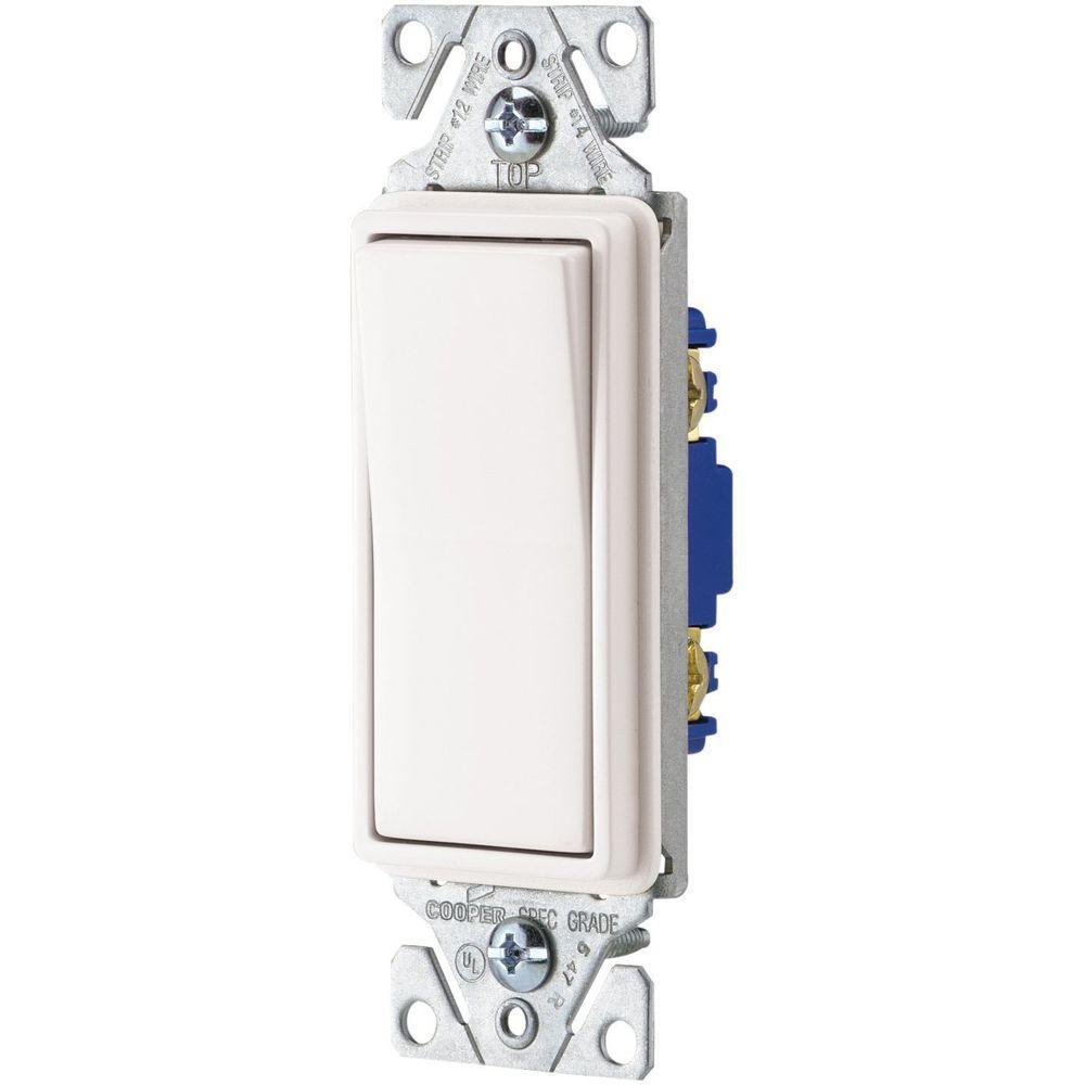 Eaton 15 Amp Singe Pole Decorator Light Switch - White