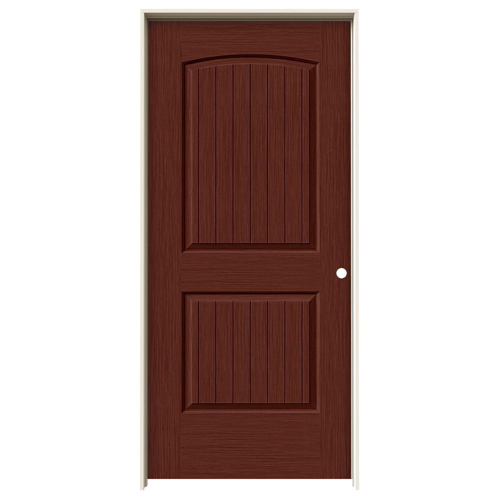 Jeld Wen 36 In X 80 In Santa Fe Black Cherry Stain Left Hand Solid Core Molded Composite Mdf