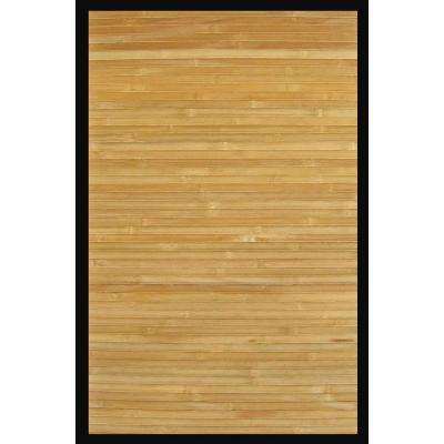 Contemporary Natural Light Brown with Black Border 4 ft. x 6 ft. Area Rug