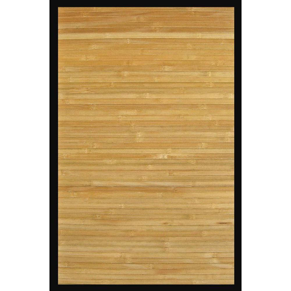 Anji Mountain Contemporary Natural Light Brown with Black Border 5 ft. x 8 ft. Area Rug