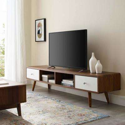Transmit 70 in. Walnut and White Wood TV Stand with 2 Drawer Fits TVs Up to 70 in. with Cable Management