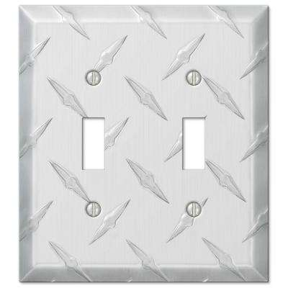 Diamond Cut 2 Toggle Wall Plate - Aluminum