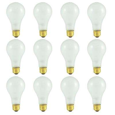 150-Watt A21 Frost Dimmable Warm White Light Incandescent Light Bulb (12-Pack)
