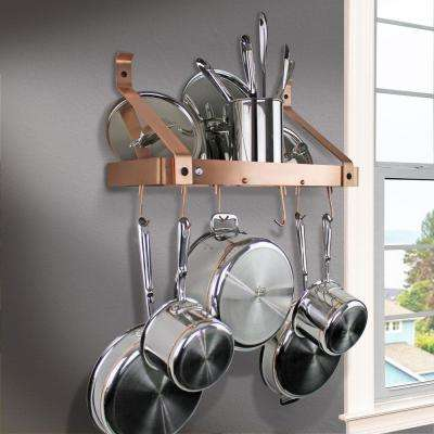 Handcrafted 24 in. Brushed Copper Gourmet Bookshelf Wall Rack with 12-Hooks
