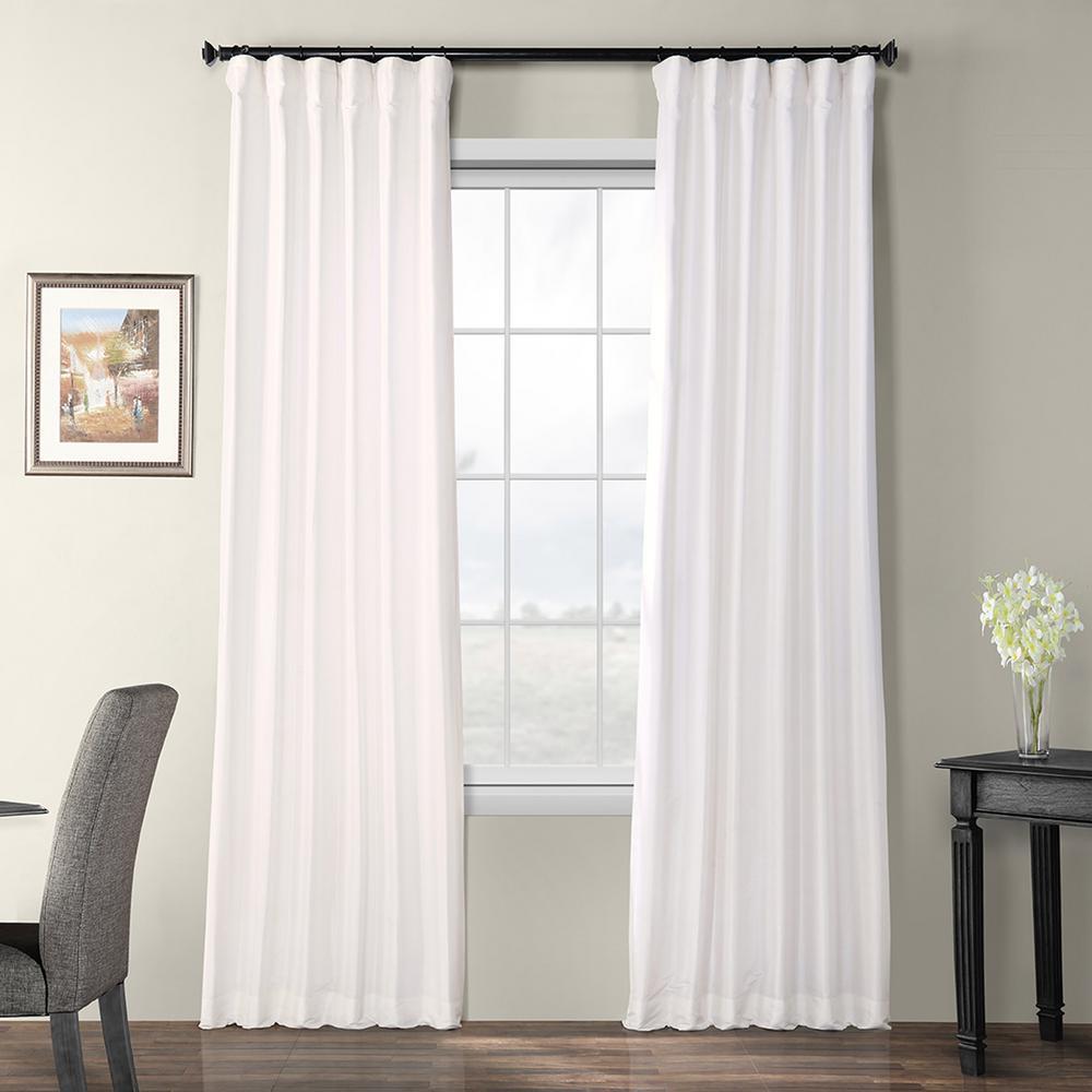 Eggshell White Blackout Faux Silk Taffeta Rod Pocket Curtain - 50 in. W x 108 in. L