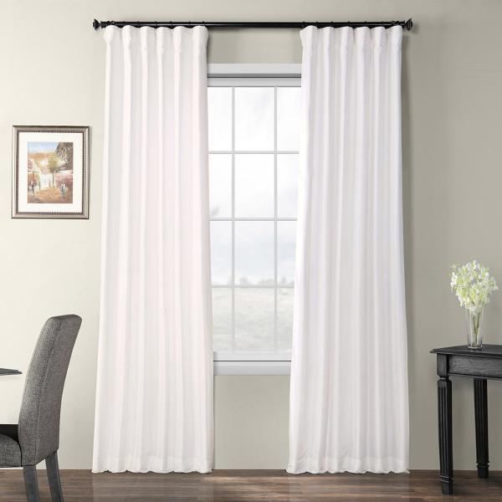 Eggshell White Blackout Faux Silk Taffeta Rod Pocket Curtain - 50 in. W x 96 in. L