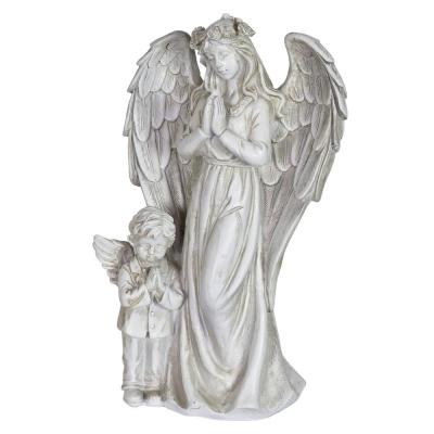 LED Halo Angel with Boy with Timer Garden Statue