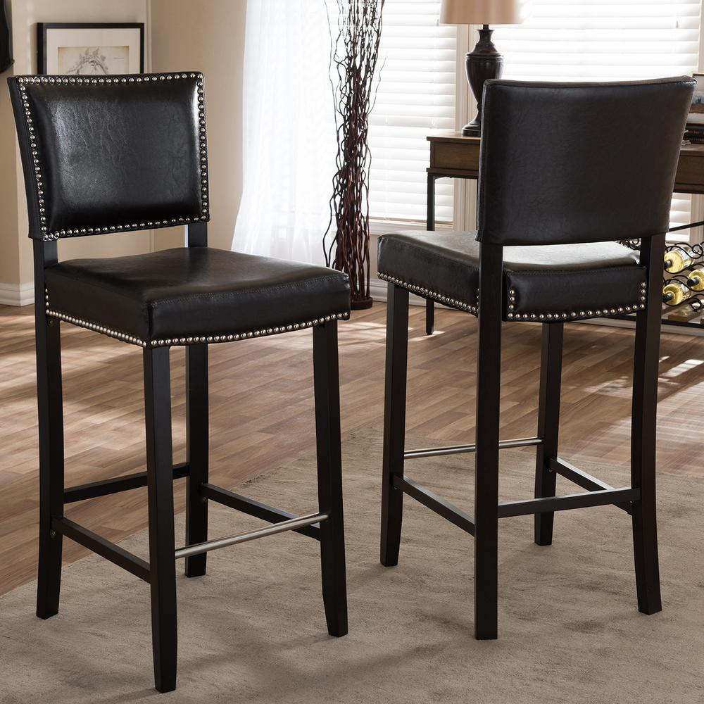 Black Metal Bar Stool With Brown Microfiber Seat By: Baxton Studio Aries Brown Faux Leather Upholstered 2-Piece