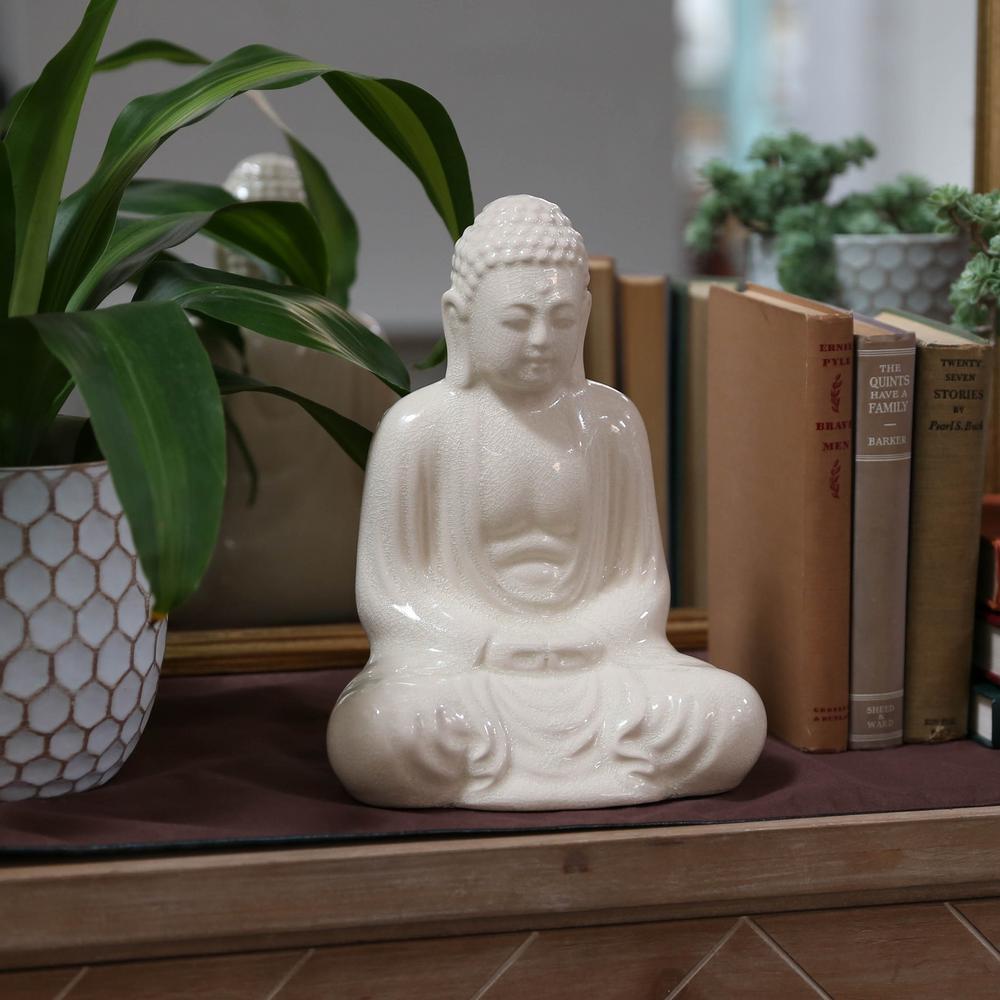 Urban Trend 11.5 in. H Buddha Decorative Figurine in Whit...