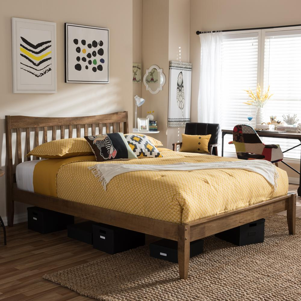 Baxton Studio Edeline Medium Brown Full Platform Bed