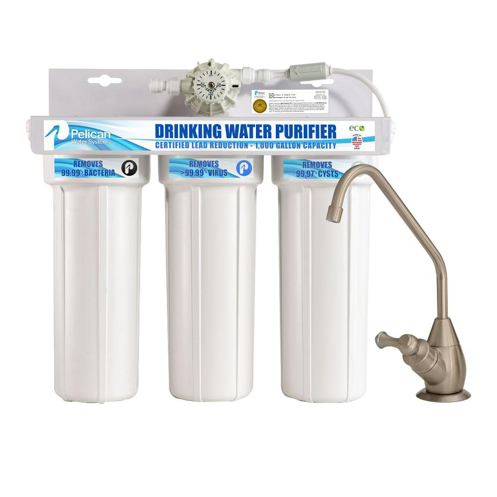 Pelican Water Drinking Purifier Dispenser Filtration System With Brushed Nickel Faucet