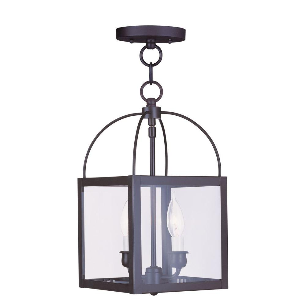 Livex Lighting 2-Light Bronze Pendant with Clear Glass Shade