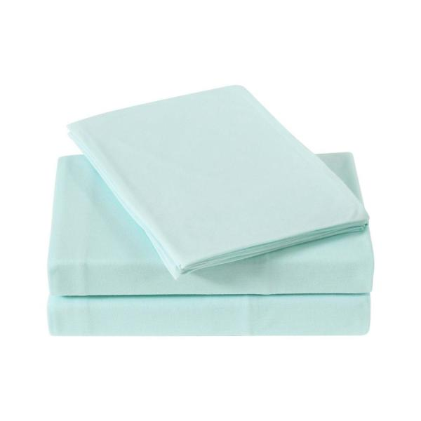 Everyday Solid Jersey Aqua Twin Sheet Set By Truly Soft