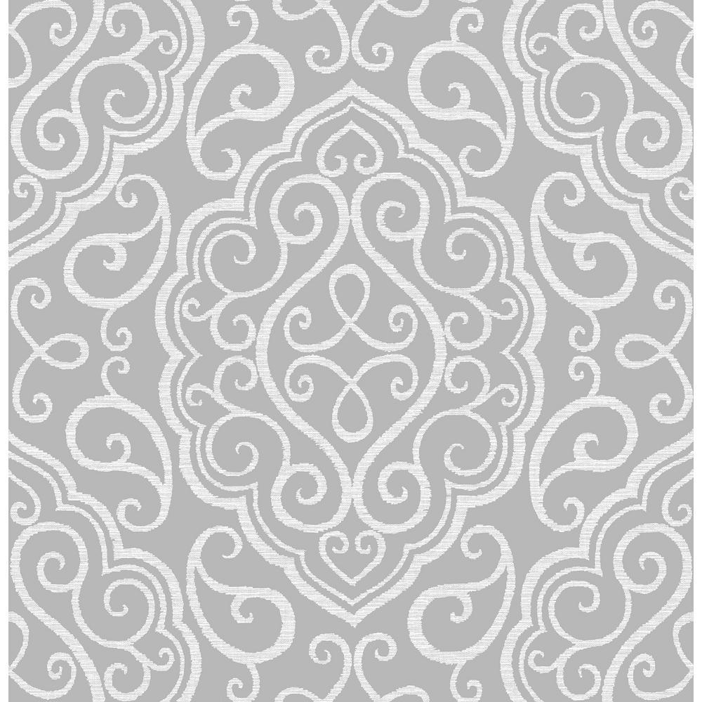 A-Street Heavenly Grey Damask Wallpaper Sample 2716-23815SAM