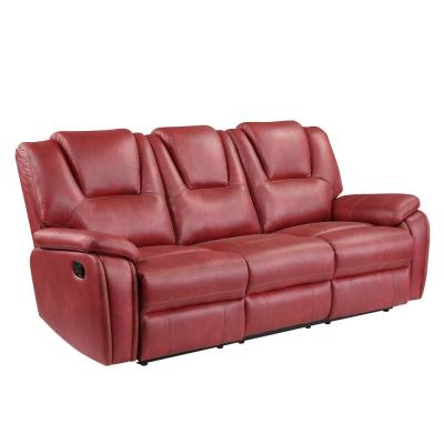 Katrine 83.5 in. Red Faux Leather 3-Seater Manual Reclining Sofa with Flared Arms