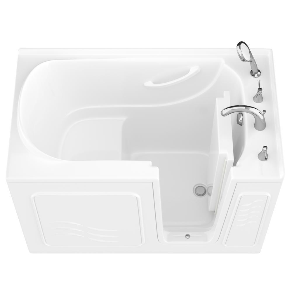 HD Series 30 in. x 53 in. Right Drain Quick Fill Walk-In Soaking Bathtub in White