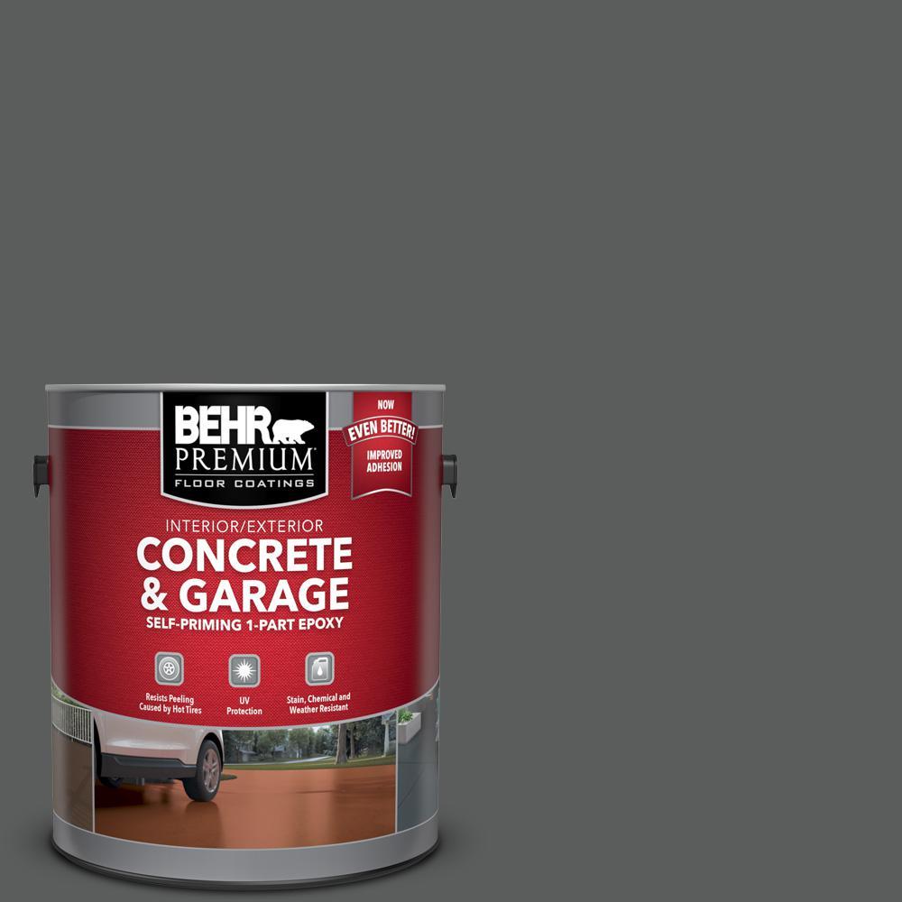1 gal. #N520-6 Asphalt Gray Self-Priming 1-Part Epoxy Satin Interior/Exterior Concrete and Garage Floor Paint
