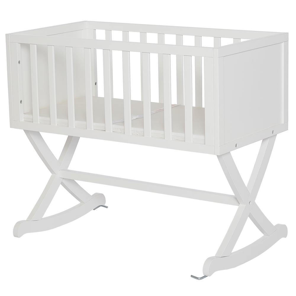 Dream On Me Haven White Cradle Dream On Me Haven cradle creates a cozy nest-like surrounding for your newborn. This cradle offers a simple and modern design by incorporating straight lines, a solid side panel with soft mattress pad and a x-cross base which allows parents to gently rock their babies to sleep. The Haven is essential to a chic loft nursery by just adding neutral tones combined with gold accents, sophisticated iron decors and pops of geometric prints which inspires a plush, peaceful, all-night comfort. Color: White.