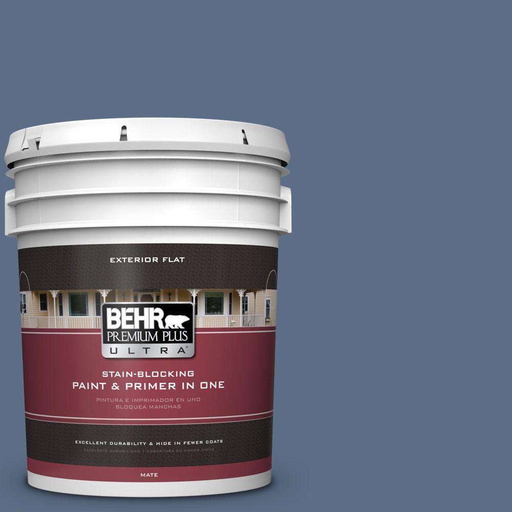 BEHR Premium Plus Ultra 5-gal. #ECC-57-3 Always Indigo Flat Exterior Paint