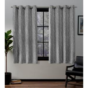 Forest Hill 52 in. W x 63 in. L Woven Blackout Grommet Top Curtain Panel in Ash Grey (2 Panels)