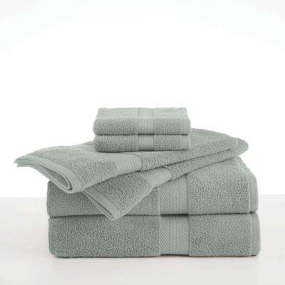 Abundance 6-Piece Cotton Blend Towel Set in Silver Sage