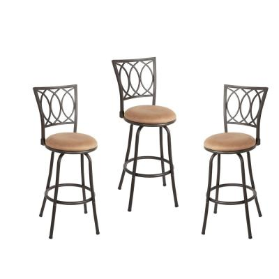 Fine Virgil 38 In Light Brown Cushioned Adjustable Height Swivel Bar Stools Set Of 3 Creativecarmelina Interior Chair Design Creativecarmelinacom